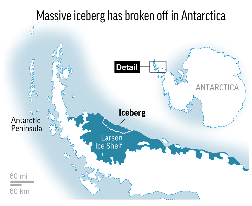Scientists, Iceberg, Broken Off, Antarctica
