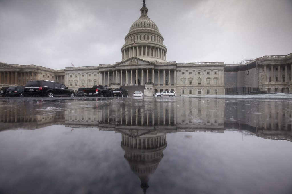 The Capitol is seen during a heavy rain in Washington in July