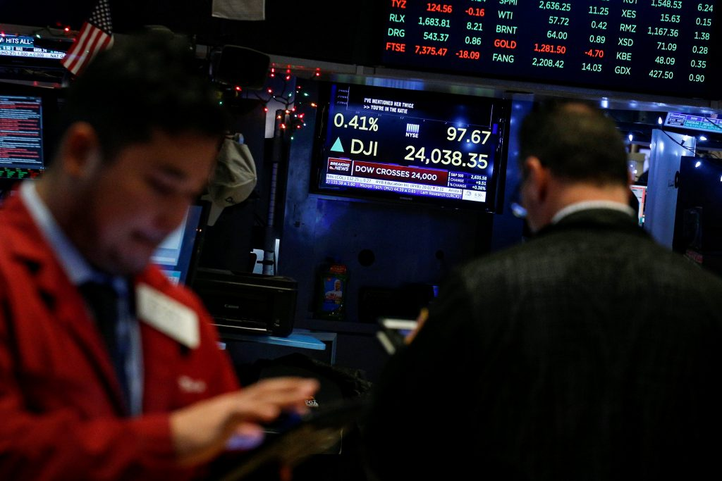 United States  stocks end at records, Dow closes above 24000 for first time