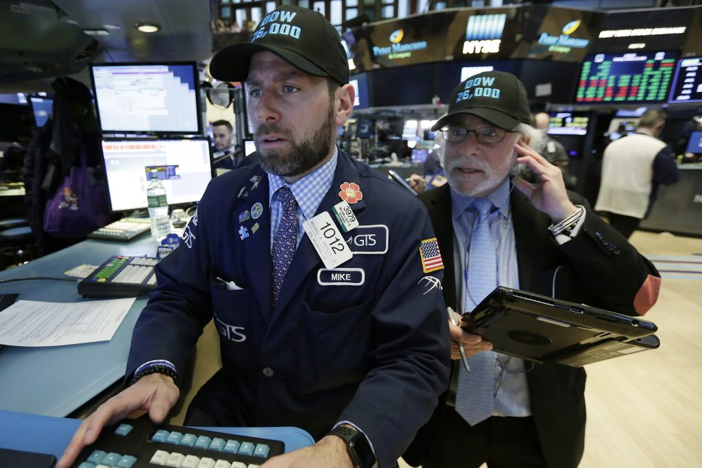Dow surges 300 points, closes above 26000 for first time