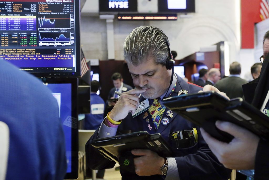 Wall Street falls as high bond yields, sinking health stocks weigh