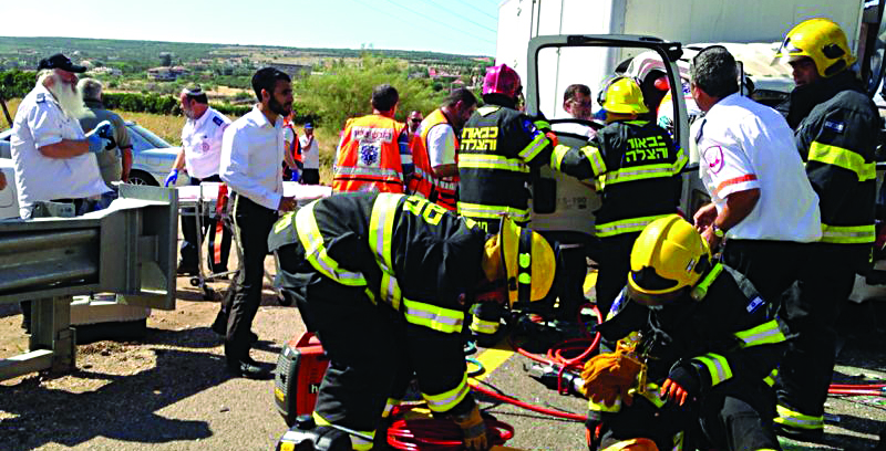 Emergency responders at the scene of the tragedy near the Kinneret on Tuesday afternoon.(Dovrot Ichud Hatzalah)
