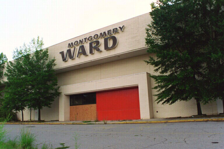 An abandoned Montgomery Ward entrance at the former Regency Mall in Augusta, Georgia. On Dec. 28, 2000, retail giant Montgomery Ward announced that it was going out of business.