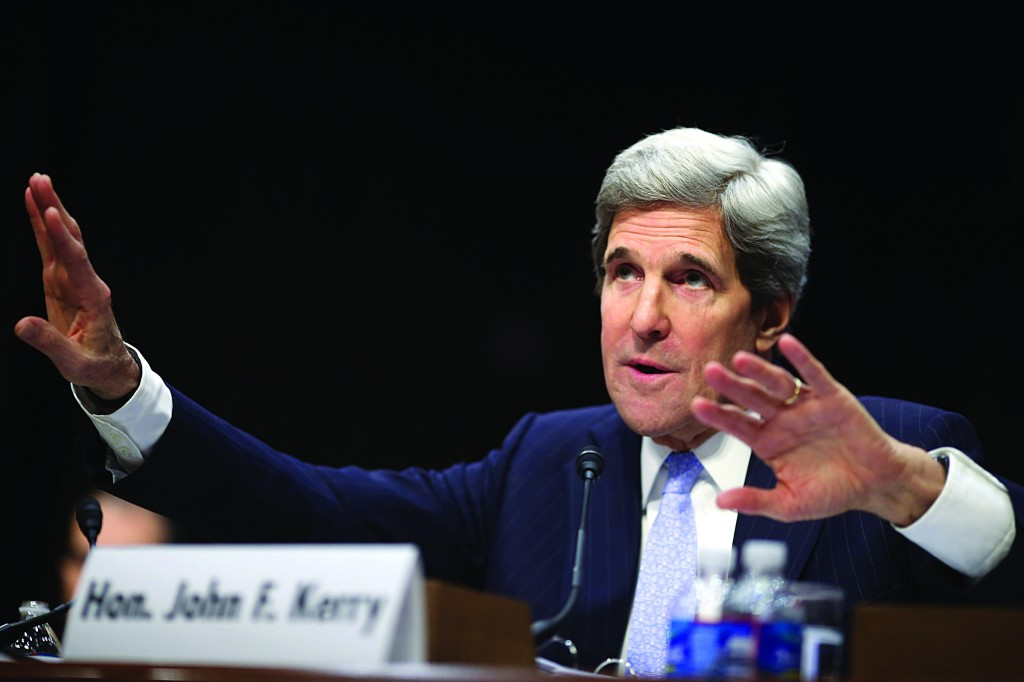 Sen. John Kerry (D-Mass.) testifies during his confirmation hearing to become the next secretary of state before the Senate Foreign Relations Committee yesterday. (Chip Somodevilla/Getty Images)