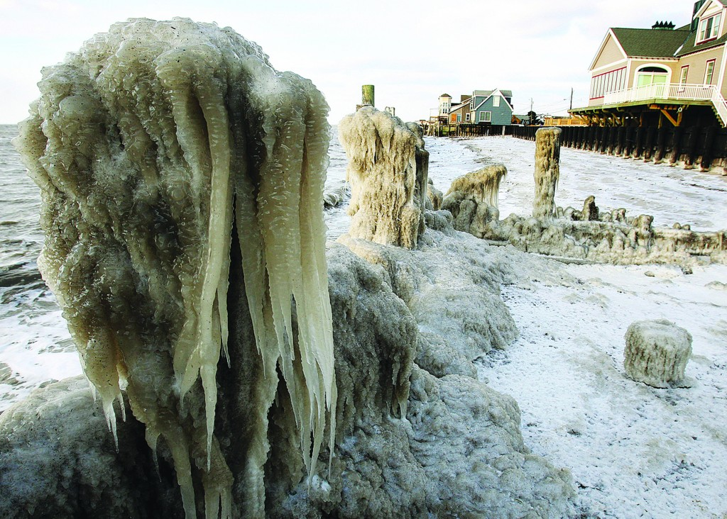 Ice coats the shoreline along the Delaware Bay in Middle Township, NJ, Wednesday. A cold wave with sub-zero temperatures was expected to keep its icy grip on much of the eastern U.S. into the weekend. (AP Photo/The Press of Atlantic City, Dale Gerhard)