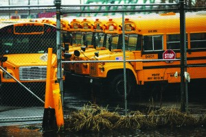 Idled school buses are viewed at the Atlantic Express Transportation Corp. (Spencer Platt/Getty Images)