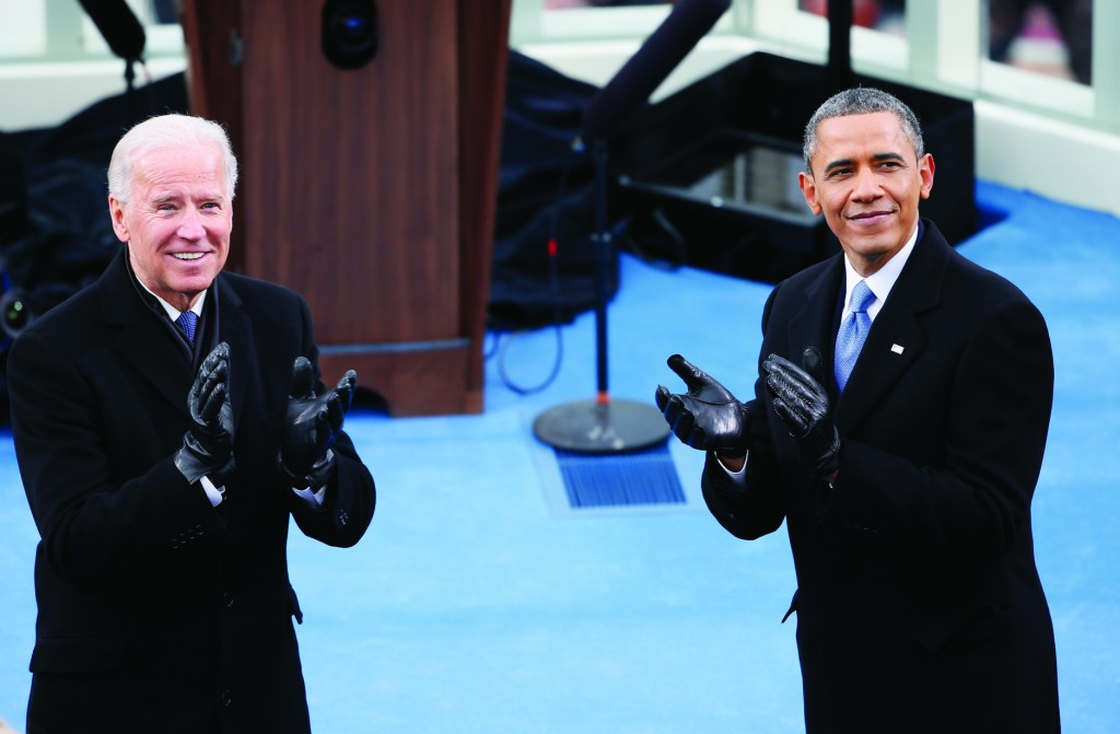 President Obama claps during the presidential inauguration. (Rob Carr/Getty Images)