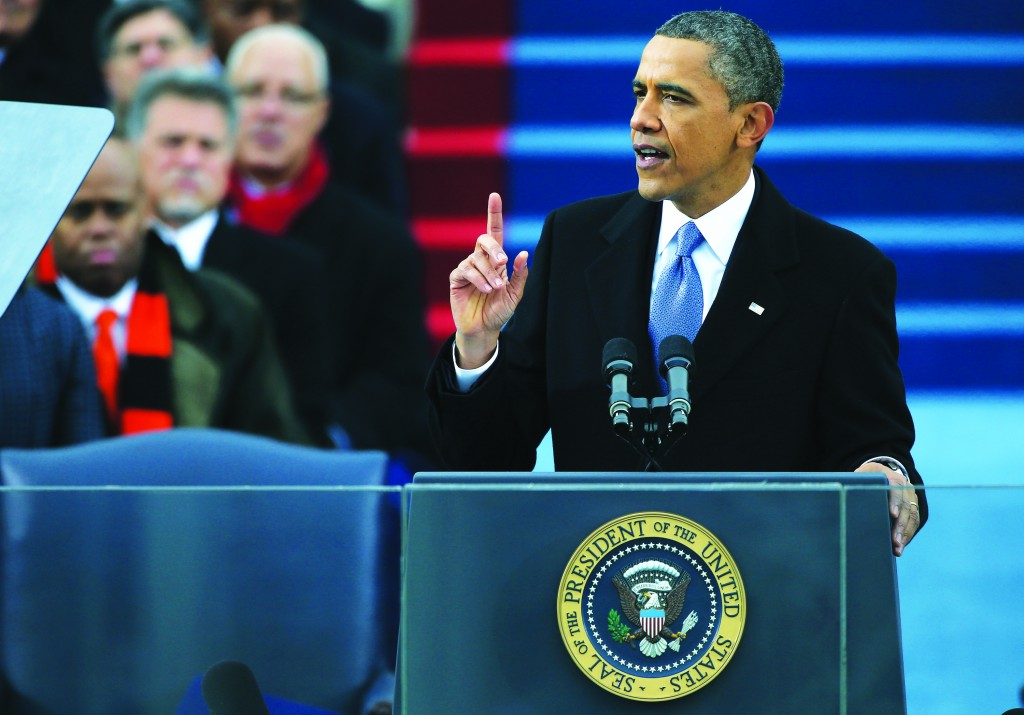 President Obama speaks after being sworn in during the presidential inauguration. (Justin Sullivan/Getty Images)