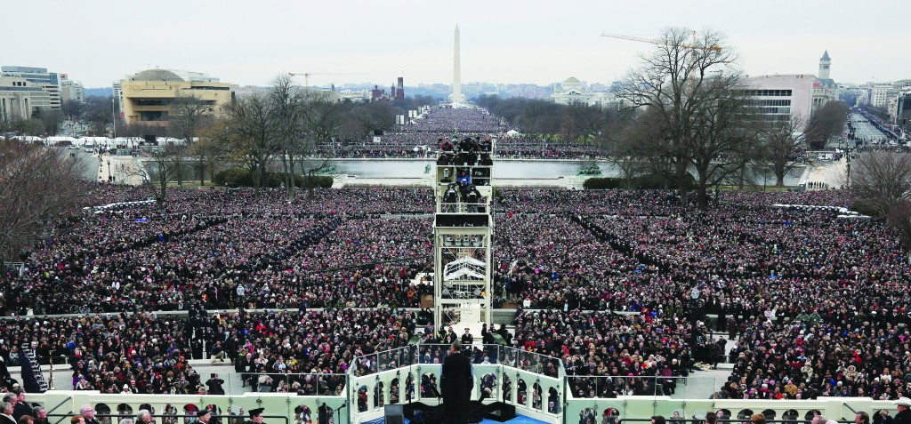 President Barack Obama gives his inauguration address. (Justin Sullivan/Getty Images)
