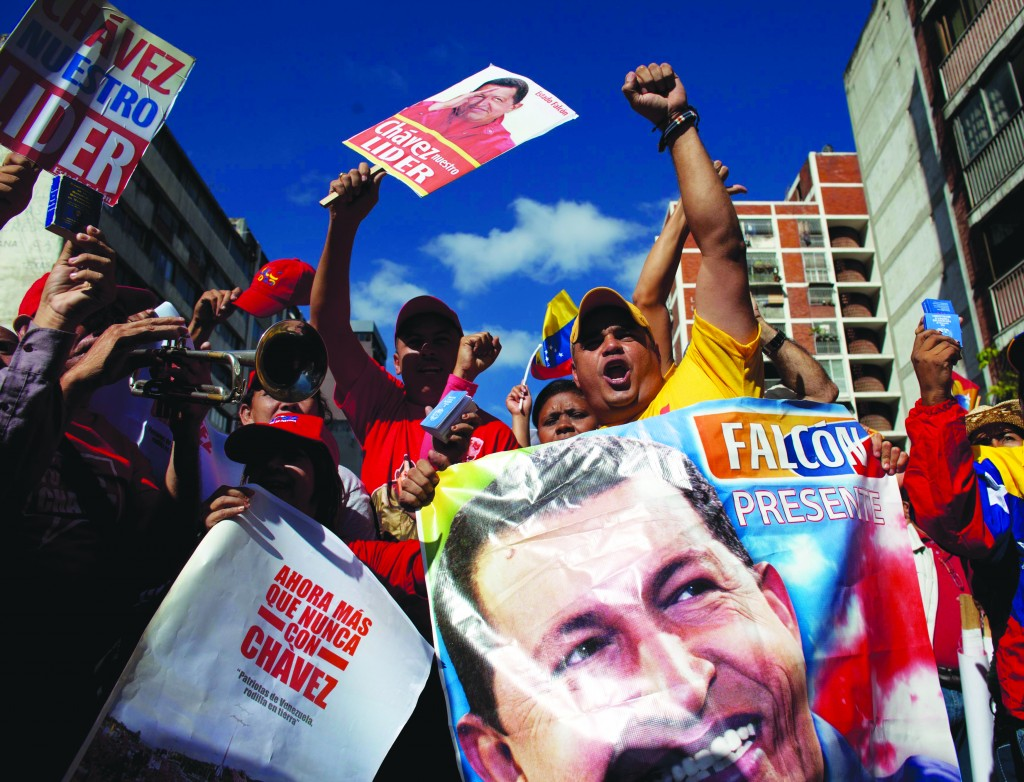 AP Photo/Ariana CubillosSupporters of Venezuela's President Hugo Chavez chant slogans at a rally in Caracas, Venezuela, Thursday.