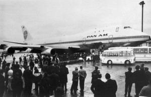 A Pan Am Boeing 747 is seen just after landing at London's Heathrow airport after its first commercial flight. (AFP/Getty Images)