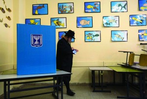 At a polling station in a Yerushalayim schoolroom on Tuesday. (REUTERS)
