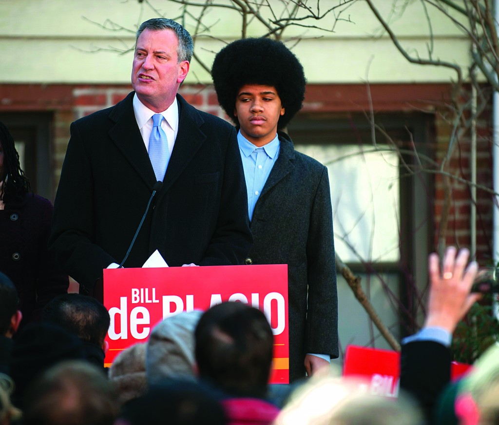 New York City Public Advocate Bill de Blasio announces his Democratic candidacy for mayor in Brooklyn yesterday. (REUTERS/Keith Bedford)