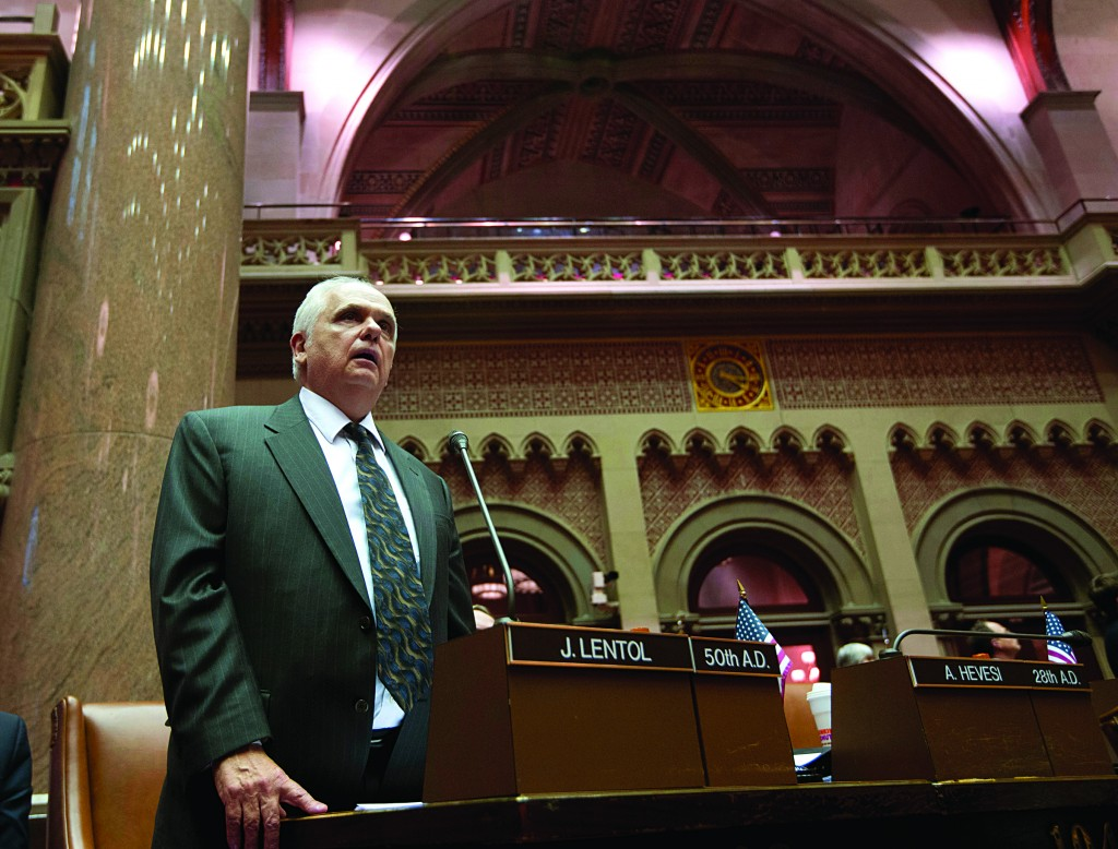 Assemblyman Joseph Lentol (D-Brooklyn) explains his vote for New York's Secure Ammunition and Firearms Enforcement Act in the Assembly Chamber at the Capitol on Tuesday, in Albany, N.Y. (AP Photo/Mike Groll)