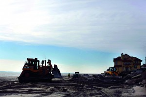 Construction of a new sea wall begins along the beach in the Belle Harbor neighborhood in the Rockaways Wednesday in the Queens borough of New York City. (Spencer Platt/Getty Images)