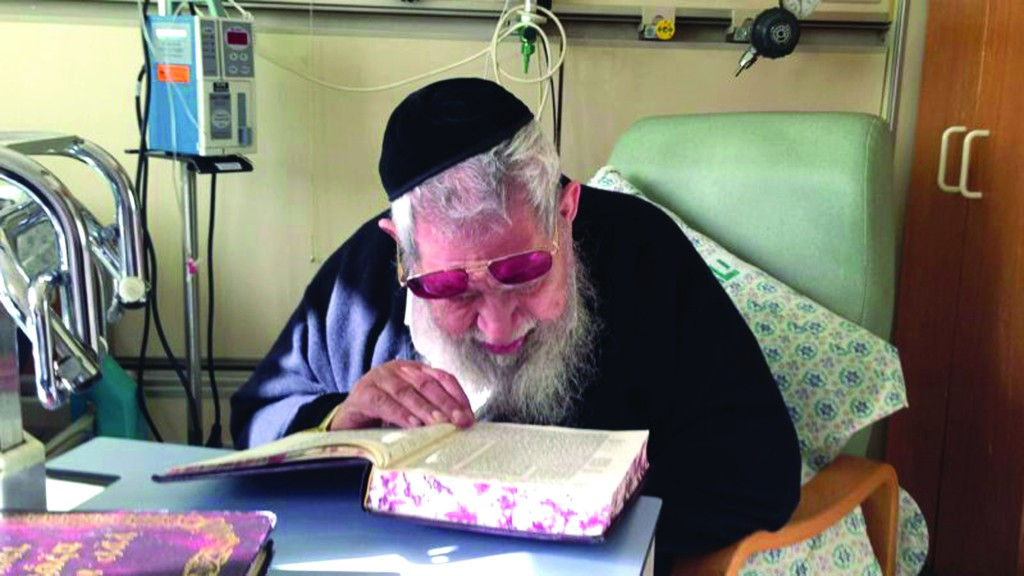 Hagaon Harav Ovadia Yosef, shlita, seen before being released from Hadassah Ein Kerem hospital on Sunday after he suffered a minor stroke. Jewish communities in Israel and abroad are asked to continue to daven for a refuah sheleimah and continued good health of Rav Ovadia ben Georgia. (Flash90)