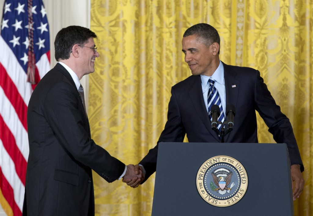 President Barack Obama shakes hands with current White House chief of staff Jack Lew in the East Room of the White House in Washington, Thursday. (P Photo/Carolyn Kaster)
