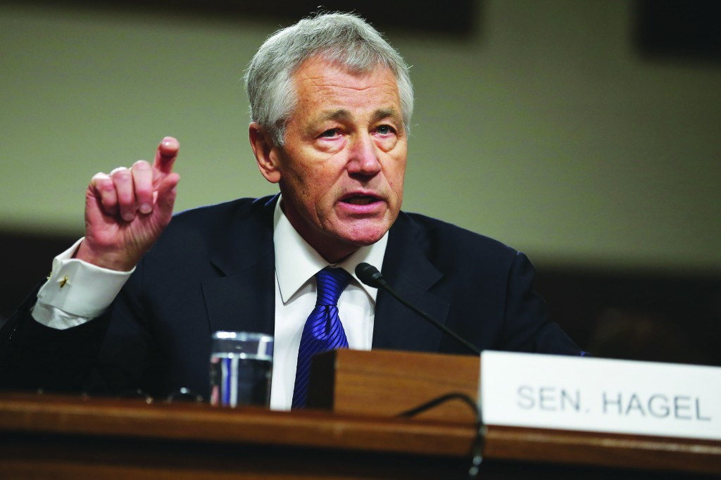 Former U.S. Senator Chuck Hagel (R-NE) testifies before the Senate Armed Services Committee. (Chip Somodevilla/Getty Images)