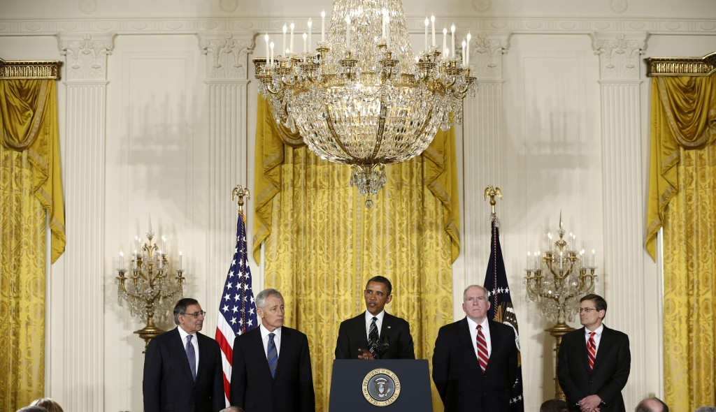 President Obama speaks yesterday during a new conference in the East Room of the White House to announce that he is nominating John Brennan (2nd R) as the new CIA director and former Nebraska Sen. Chuck Hagel (2nd L) as the new Defense Secretary. At the far left is the current Defense Secretary, Leon Panetta, and at far right is Michael Morell, the Acting Director of the CIA. (AP Photo/Carolyn Kaster)