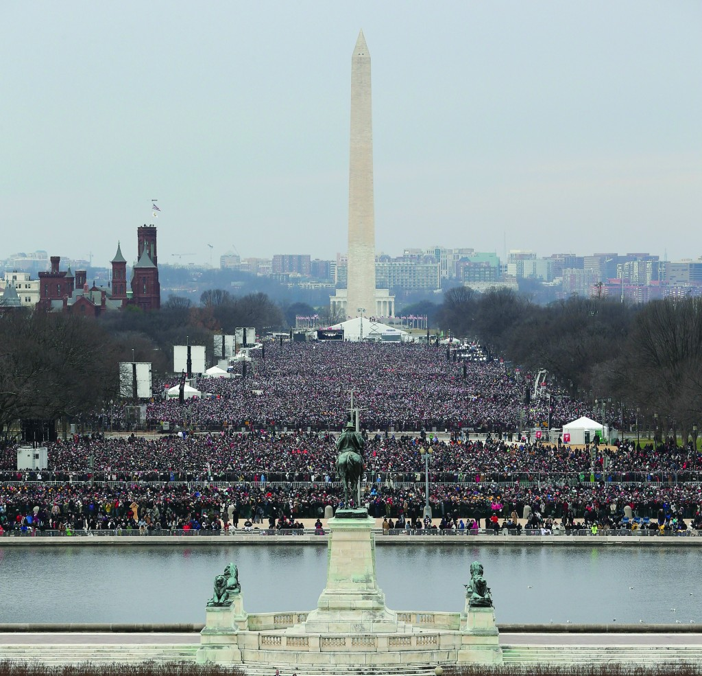 A partial view of the massive crowd that attended President Barack Obama's presidential inauguration at the U.S. Capital in Washington, D.C., on Monday. The crowd stretched back as far as the Washington Monument. (Getty Images)
