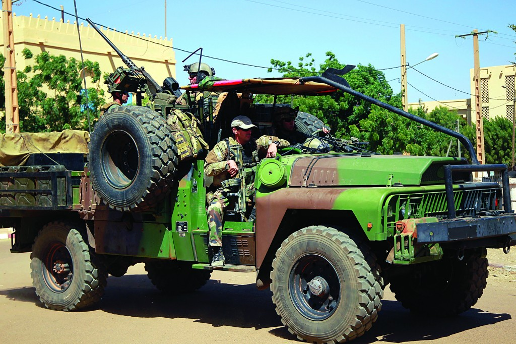 French special forces drive through Gao, Northern Mali, Wednesday. (AP Photo/Jerome Delay)