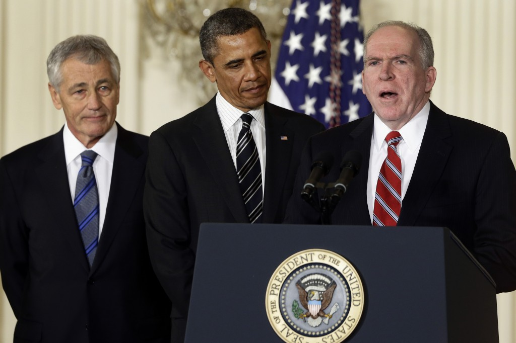 President Obama (C), Defense Secretary-nominee Chuck Hagel (L), and CIA director-nominee John Brennan at the White House last week. (AP Photo/Charles Dharapak, File)