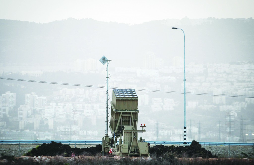One of the two Iron Dome batteries deployed this week near Haifa, amid fears of further destabilization across the border in Syria. It marks the first time the anti-missile system has been stationed in the area. (Flash90)
