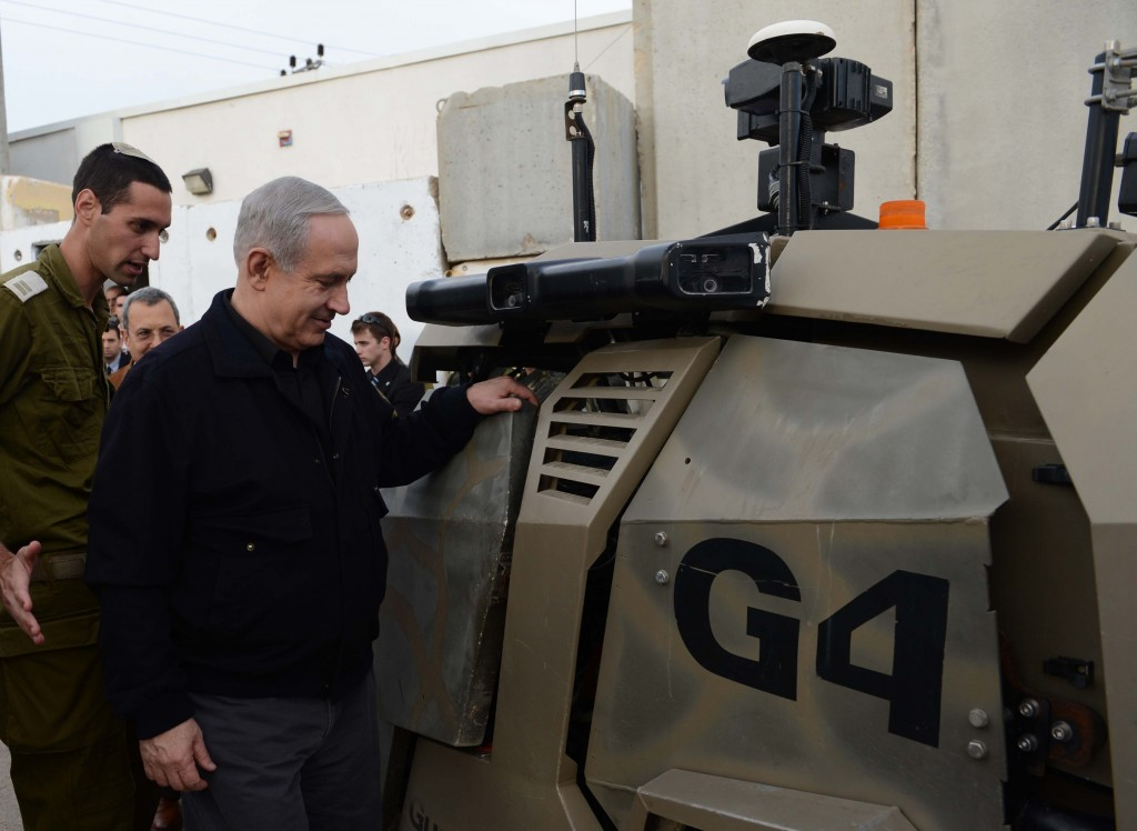 """""""Only Israel's citizens will be the ones to determine who faithfully represents Israel's vital interests,"""" Israeli Prime Minister Binyamin Netanyahu said, while inspecting an IDF base near the Gaza border on Wednesday. (FLASH90)"""
