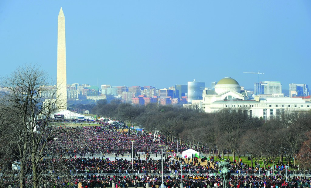 A partial view of the massive crowd that attended President Barack Obama's presidential inauguration at the U.S. Capitol in Washington, D.C., on Monday. The crowd stretched back as far as the Washington Monument. (STAN HONDA AFP Getty Images)