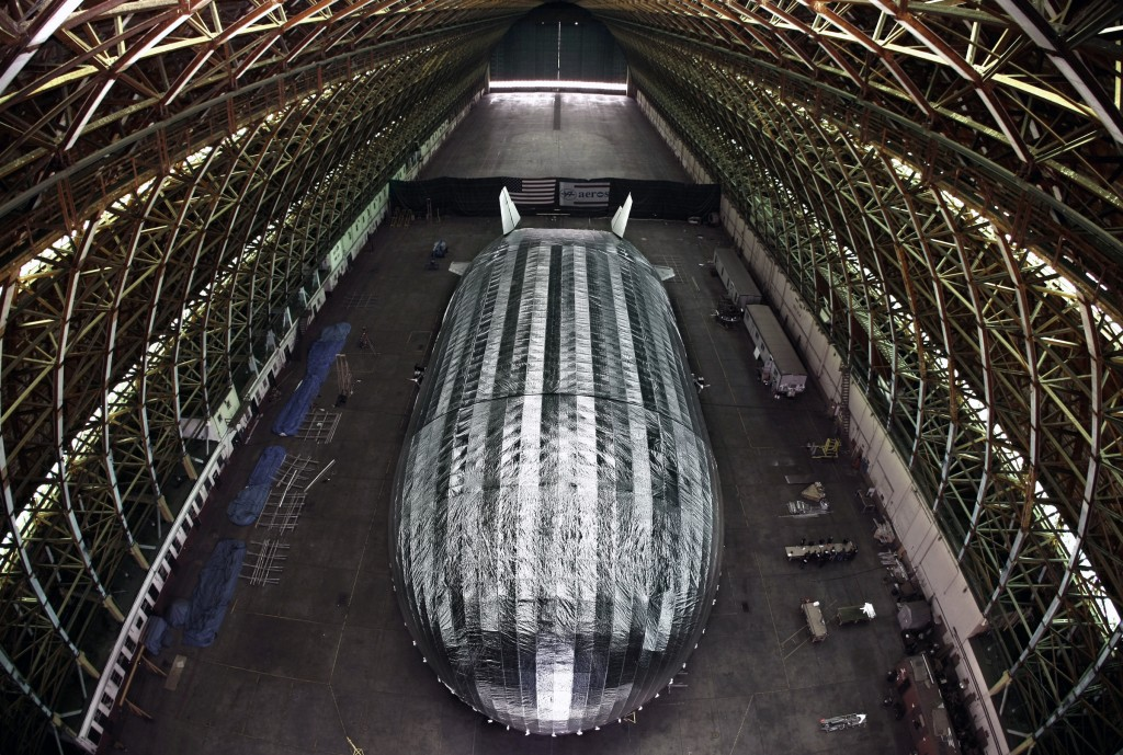 A massive blimp-like airship being built by Worldwide Aeros in a WWII-era blimp hangar at the former Marine Air Station in Tustin, Calif. (AP Photo/Los Angeles Times, Don Bartletti)