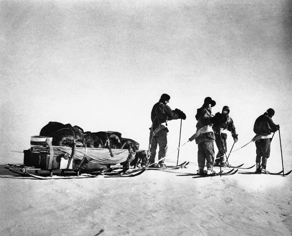 "Four of the five members of the doomed Scott expedition near the South Pole, which they reached on Jan. 17, 1912. Capt. Robert Falcon Scott, leader of the expedition, described the pole as an ""awful place"" in the diary found 10 months later with his body. All five men in the party died. Scott's insistence on using horses instead of dogs to pull supplies later was held responsible for fatal delays on the trip. (AP Photo)"