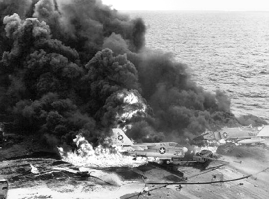 Aircraft burning aboard the U.S. Navy nuclear-powered aircraft carrier USS Enterprise, January 14, 1969.