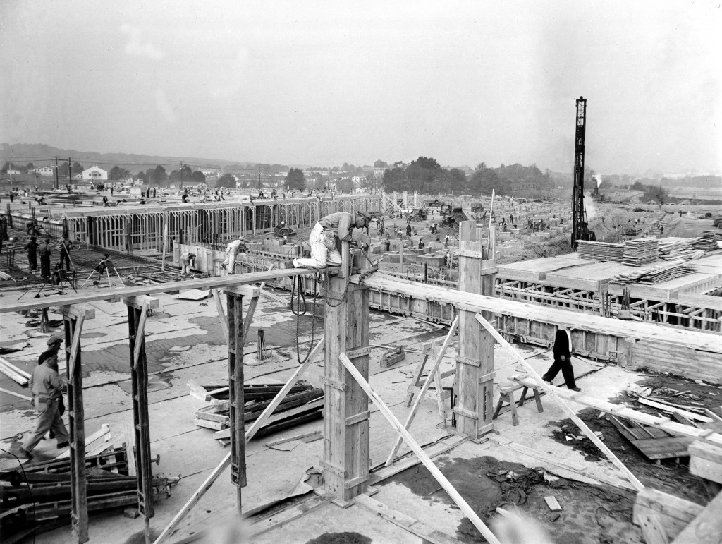 Construction on the Pentagon building continues in Arlington, Va., in 1941. The construction, which began Sept. 11, was completed on January 15, 1943, at an approximate cost of $83 million. (AP Photo)