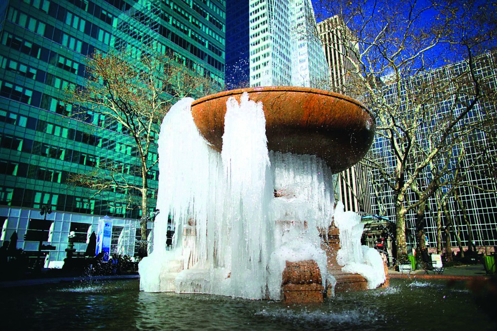 A partially frozen fountain in Bryant Park in New York, Thursday. (REUTERS/Eduardo Munoz)