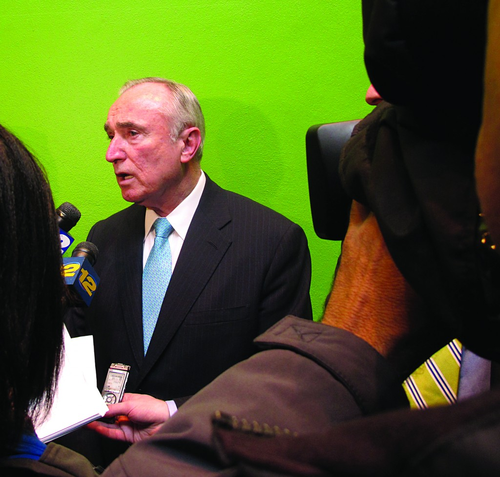 Former New York City Police Commissioner William Bratton answers questions from reporters on Wednesday, after speaking at a school safety symposium in Purchase, N.Y. (AP Photo/Jim Fitzgerald)