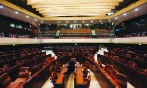 The empty plenum hall of the Knesset prior to Tuesday's opening session. (FLASH90)