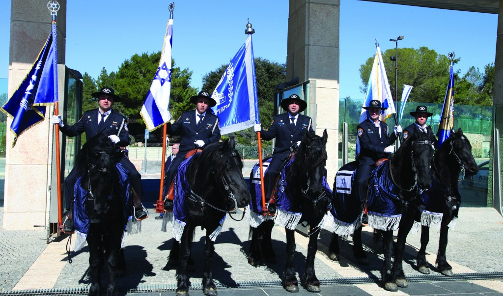 The Knesset Guards, who are responsible for the security of the Knesset building and protection of MKs, rehearsing for the 19th Knesset swearing-in ceremony on Tuesday.  (FLASH90)