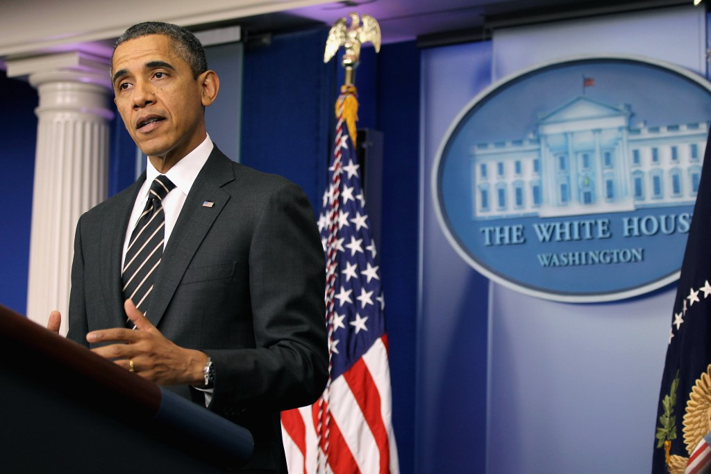 President Barack Obama makes a statement during a press conference at the Brady Press Briefing Room of the White House Tuesday in Washington, DC. (Alex Wong/Getty Images)