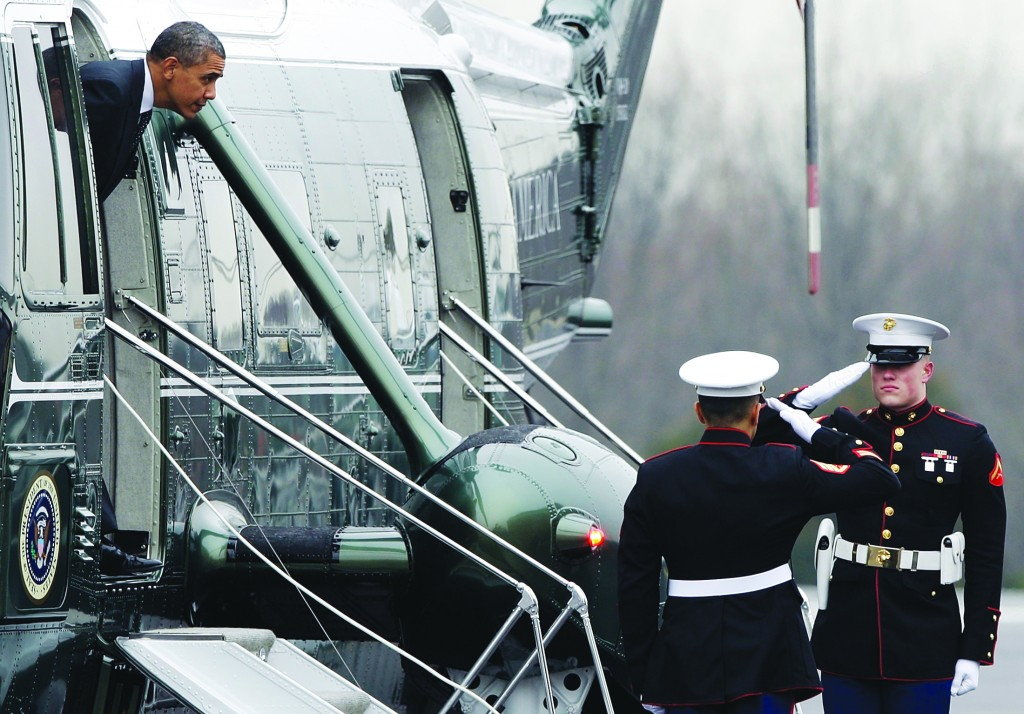 President Obama arrives via Marine One at Leesburg Executive Airport to deliver remarks nearby at the House Democratic Issues Conference, in Leesburg, Virginia, February 7. (REUTERS/Jonathan Ernst)