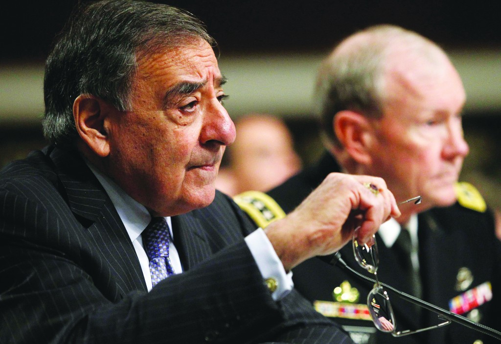 Secretary of Defense Leon Panetta (L) and Army General Martin Dempsey, the Chairman of the Joint Chiefs of Staff, testify before the Senate Armed Services Committee hearing in Washington Thursday. (REUTERS/Gary Cameron)