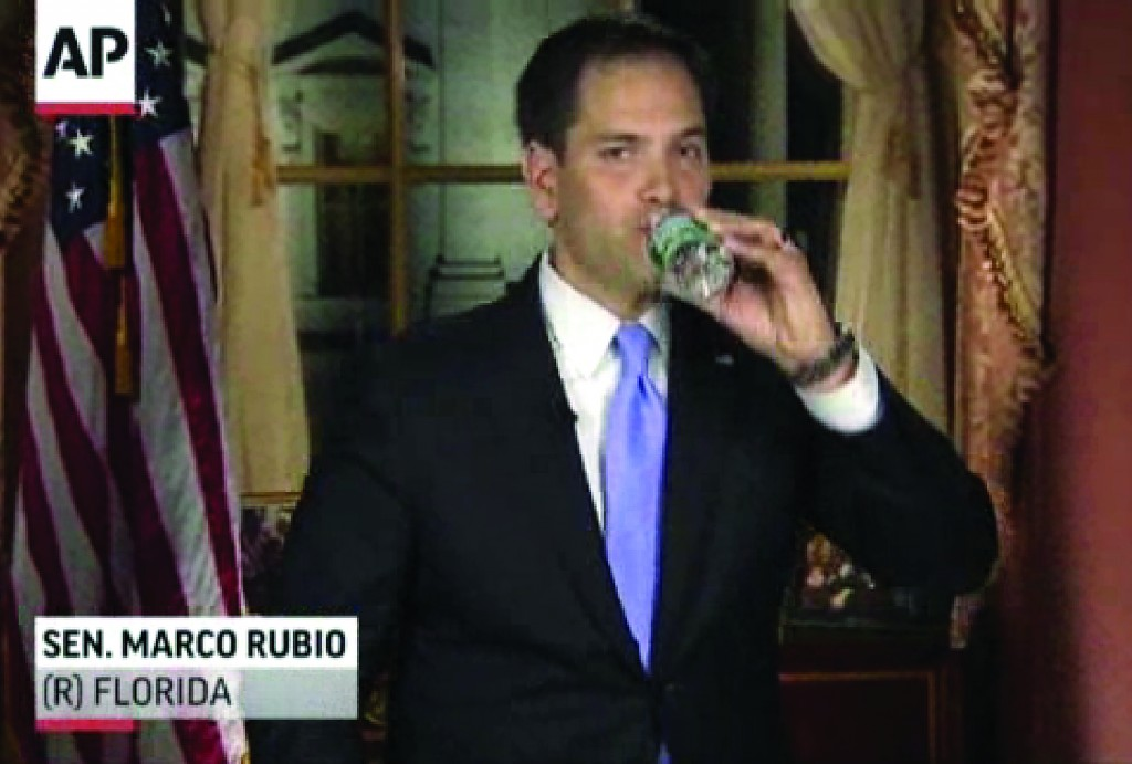 In this frame grab from video, Florida Sen. Marco Rubio takes a sip of water during his Republican response to President Barack Obama's State of the Union address, Tuesday. (AP Photo/Pool)
