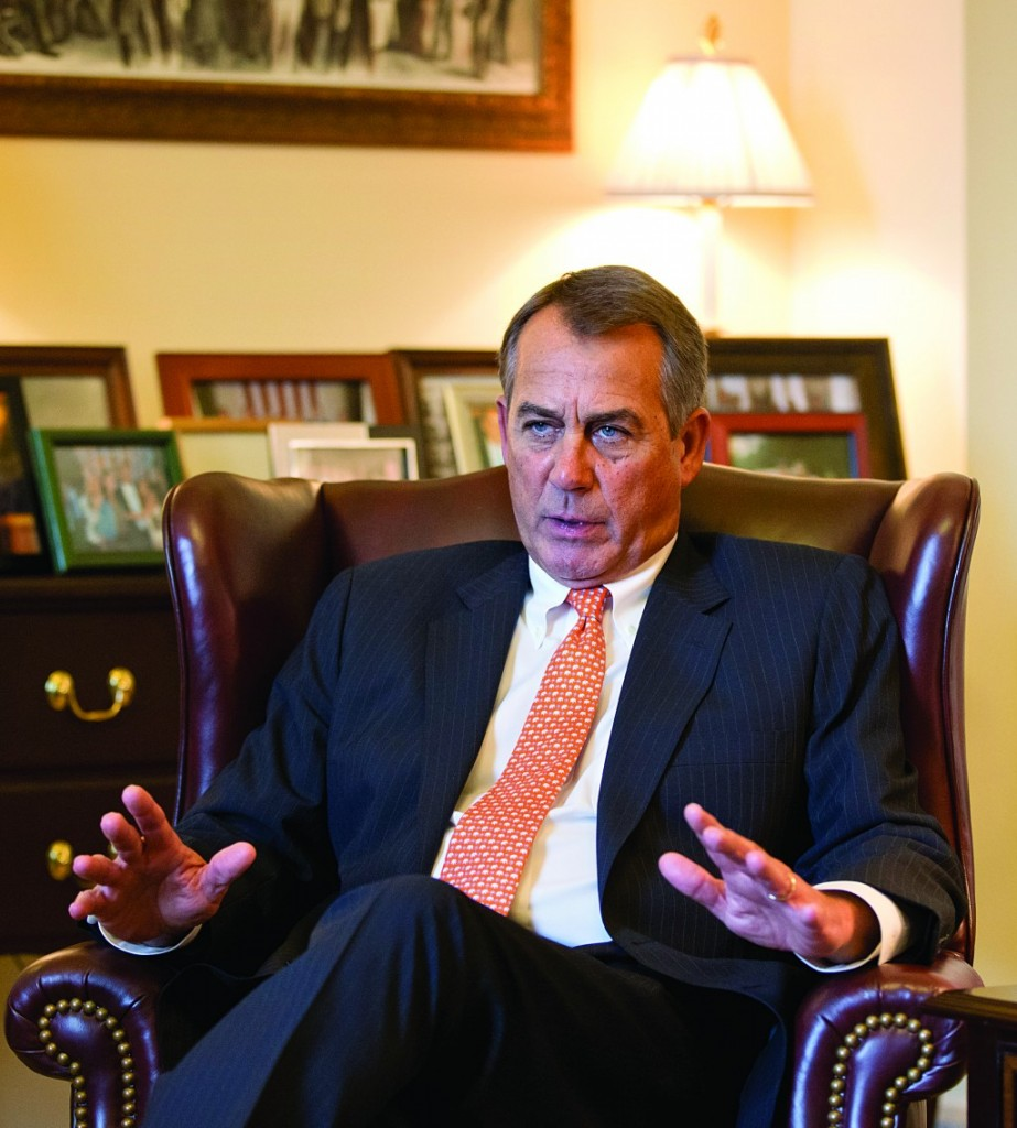 Speaker of the House John Boehner, R-Ohio, responds to President Obama's State of the Union speech during an interview with AP at his Capitol office, Wednesday. (AP Photo/J. Scott Applewhite)