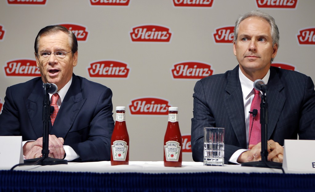 H.J. Heinz Co. CEO William Johnson, left, and 3G Capital Managing Partner,Alex Behring, speak at a news conference at the world headquarters of the H.J. Heinz Co. on Thursday, Feb. 14, in Pittsburgh.