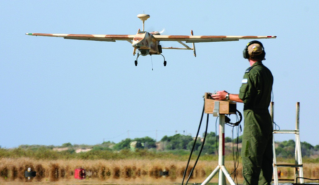 A 'Searcher II' (Kochav Lavan) UAV returns from a reconnaissance mission. The drones are now not only in the air but on the ground, too. (Flash90)