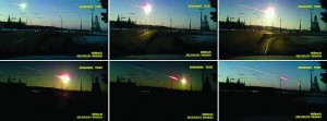 In this combo photograph made from the frame grabs of a dashboard camera video, a meteor streaks through the sky over Chelyabinsk, about 1,500 kilometers (930 miles) east of Moscow, Friday. (AP Photo/AP Video)