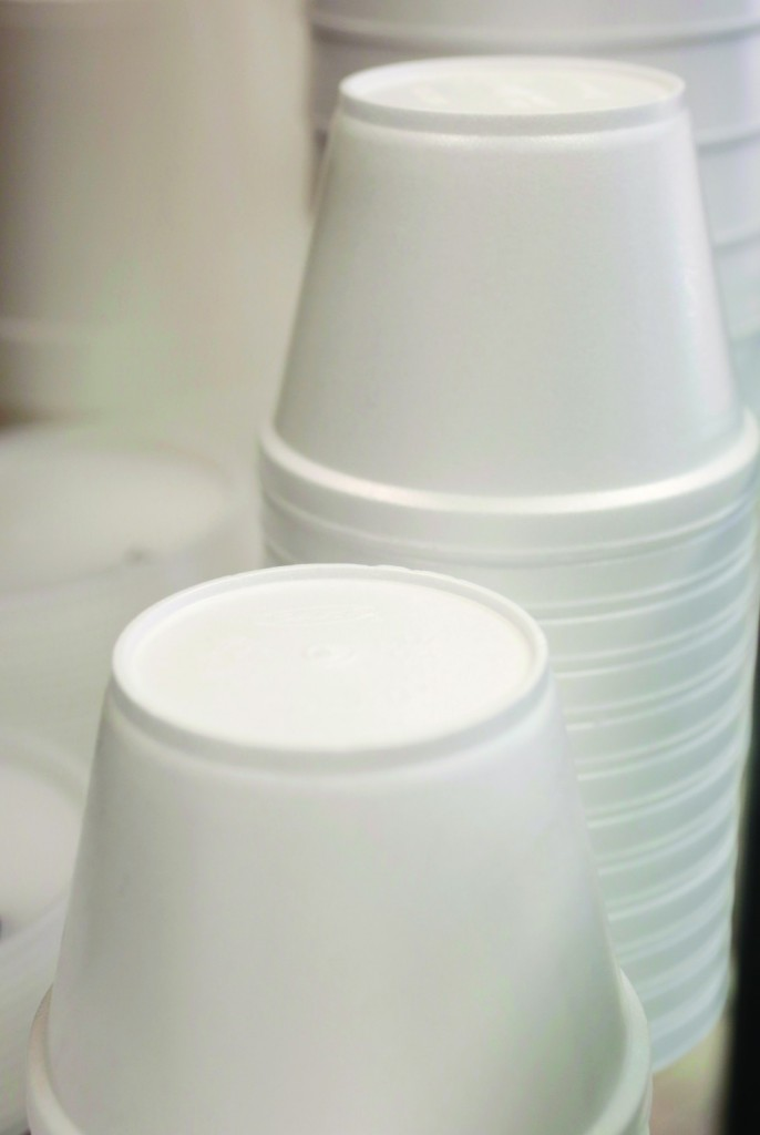 Foam soup containers are stacked in a New York restaurant. (AP Photo/Mark Lennihan)