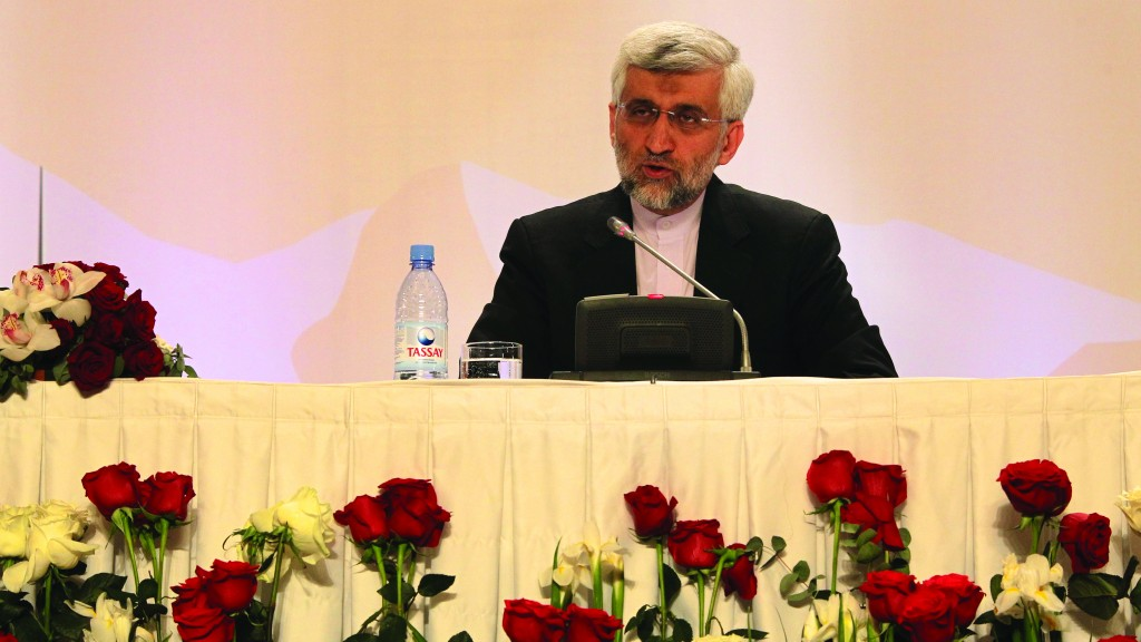 Iran's Supreme National Security Council Secretary and chief nuclear negotiator Saeed Jalili answers a question during a final news conference in Almaty, Wednesday. (AP Photo/ Pavel Mikheyev)