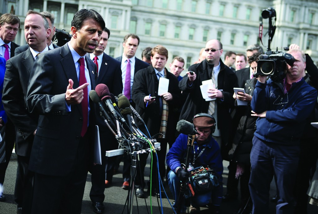 Louisiana Gov. Bobby Jindal (3rd L) speaks to members of the press after a State Dining Room meeting with President Barack Obama at the White House Monday in Washington, D.C. (Alex Wong/Getty Images)