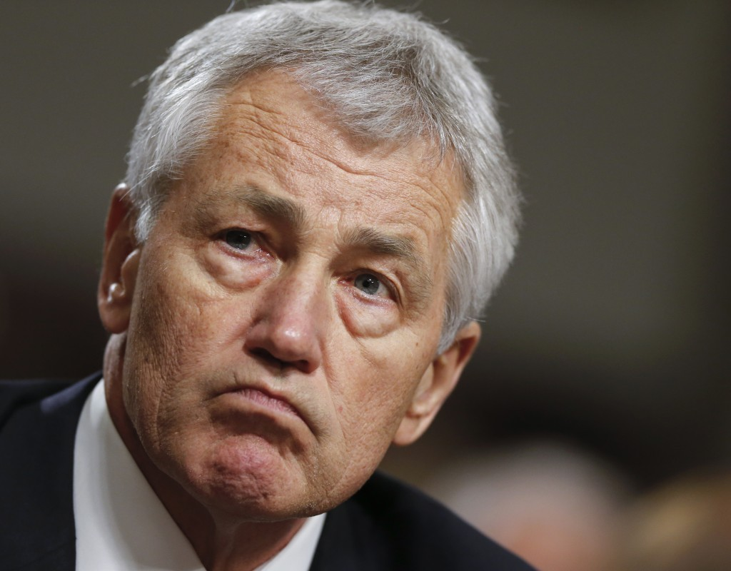 Former Nebraska Sen. Chuck Hagel testifies at his Senate Armed Services Committee confirmation hearing on Capitol Hill in Washington on Jan 31, 2012. (AP Photo/J. Scott Applewhite)