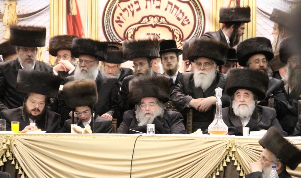 The Belzer Rebbe, shlita, celebrates the bar mitzvah of his grandson, yesterday. (Anshil Beck/JDN)